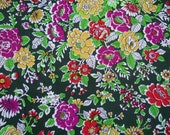 "Vintage Knit Fabric - Yellow Purple Red Floral on Green - 1 2/3 yards x 44"" wide"