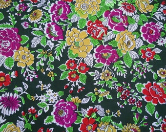 """50% OFF FABRIC SALE! Vintage Knit Fabric - Yellow Purple Red Floral on Green - 1 2/3 yards x 44"""" wide"""