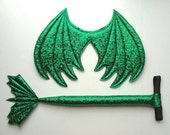 Green Dragon Wings and Tail SET, Textured Metallic Green,  green dragon tail, wire free,  dress up play, cosplay dragon, Halloween costume
