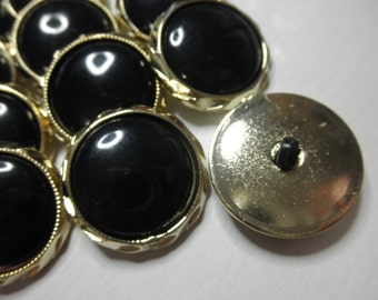 12 Black and Gold Plastic Buttons -2 part Snap Together -1 inch each