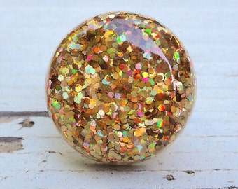 Gold Holographic Disco Ball Chunky Glitter Resin Ring, Round Resin Glitter Statement Ring, 90's Party Ring, Fall Fashion Metallic Gold Ring