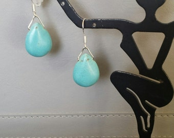Turquoise tear drop earrings sterling silver