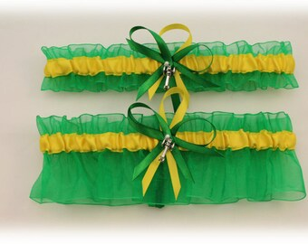 Farm Colors Wedding Garter with Tractor Charms, Bridal Garter, Prom Garter  (Your Choice, Single or Set)