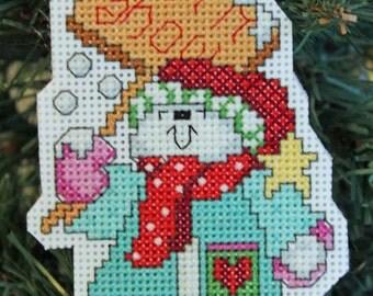 "Handmade Cross Stitch Snowman ""Let it Snow"" Christmas Ornament"