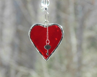 Key to my heart, stained glass heart suncatcher, bridal charm, bouquet charm, bright red heart gift under 15, mini heart and key