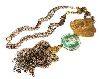 Vintage Egyptian Pharaoh Green Glass Tassel Necklace - Gold Tone, Fringe Necklace, Gold Tone Chains, King Tut, Vintage Necklace