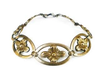 Vintage Sterling 14K Gold Plated Symmetalic Bracelet - WE Richards Co, Sterling Silver, Rosette, Vintage Bracelet, Antique Jewelry