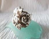Reserved for Ann Antique Spoon Ring Rose Sterling Silver  Size 8.75