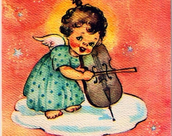 Vintage Christmas Card Angel Cloud Cello Music
