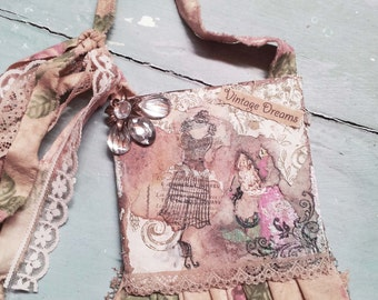 Vintage French Chic. French Bohemian Wall Hanging. Shabby French Farmhouse. Vintage French. Vintage Wallpaper. French Lace. Torn Ribbon