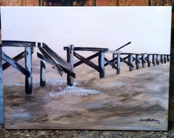 peir over water using monochromatic neutrals highlighting worn rustic wood that had been weathered by the sea air and storms