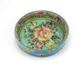 Blue Porcelain handmade wine bottle coaster - pottery bowl also makes a great pet bowl - floral design