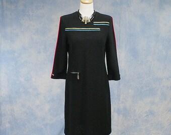 Vintage 80s Designer Steve Fabrikant Knit Sweater Dress, Sz Med 8 10; Like New