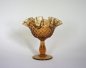 vintage amber glass hobnail footed dish