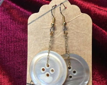 Mother Of Pearl Button Statement Earrings One of A Kind