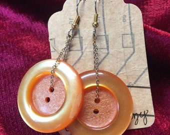 Orange Button Statement Earrings One of A Kind