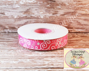 Pink with White Swirls and Silver Stars 7/8 inch Ribbon