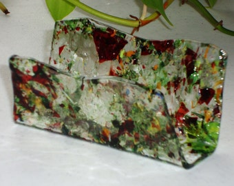 Fused Glass Business Card Holder -  Autumns 31616