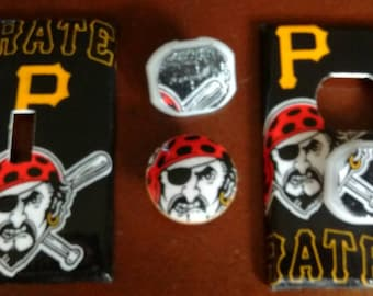 Pittsburgh Pirates Light Switch Plate Cover Outlet Covers or Knobs