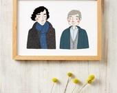 Sherlock and Watson Print A4