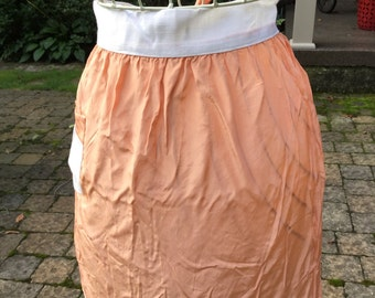 Apricot Colored Silk and Cream Dressy Apron Vintage Kitchen Cottage Chic Apron