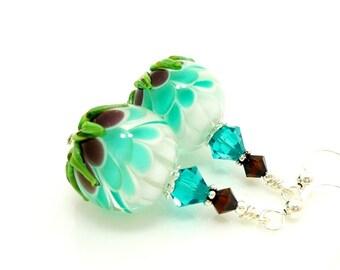 Teal Earrings, Lotus Flower Earrings, Lampwork Earrings, Glass Bead Earrings, Unique Earrings, Glass Earrings, Dangle Earrings