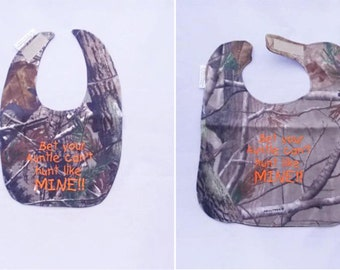 Bet Your Auntie cant Hunt Like MINE - Baby Bib - Small OR Large - orange lettering