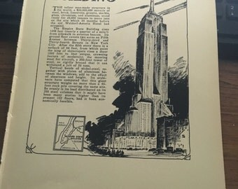 The Empire State Building 1933 book page print New York New York City