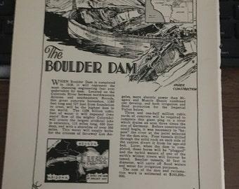 Boulder Dam 1933 book page history print illustration . Art frameable history