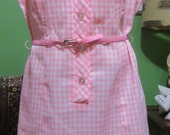 40%OFFSALE Vintage 1950s Pink Ginghan Check Day Dress with Matching Belt Sz XL