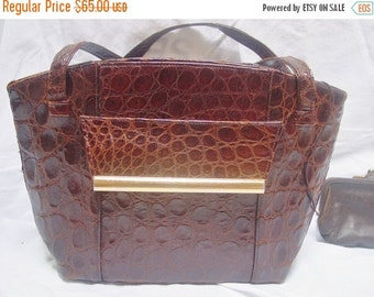 30% OFF SALE Vintage 1960s Alligator Kelly Handbag Purse with Attached Coin Purse