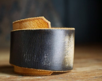 "The ""Alabama"" Cuff in Black and Range Tan (small)"
