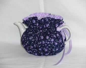 2 Cup Roses on Blue Reversbile Teapot Cozy