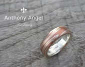 Custom Listing For Paddy -Mokume Gane Wedding Band 5mm  - Elongated Twist Pattern - Low Dome. Made to Order 3-4 weeks