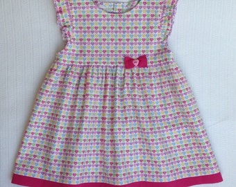 Baby girl cotton dress. Colorfull hearts. 86-92/ 12-24 months.