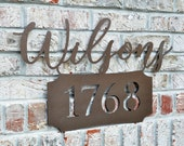 Personalized Metal Address Name Sign for Outdoor Use
