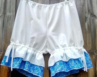 White and blue bloomers with double ruffles