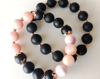 Black Matte, Coral and Copper Beaded Stackable Bracelets