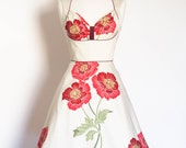 Red Poppy Cotton Satin Bustier Dress with A-Line Skirt - Made by Dig For Victory