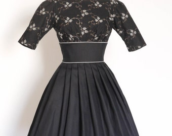 Black Embroidered and Plain Linen Tiffany Prom Dress  - Made by Dig For Victory