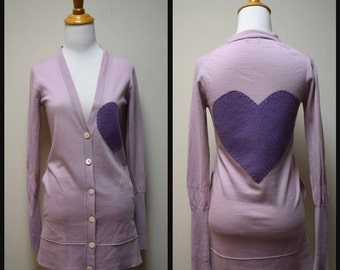 J CREW Lilac Hip Length Wool Cardigan Upcycled Hand Appliqued Sweater w Hearts Size XS