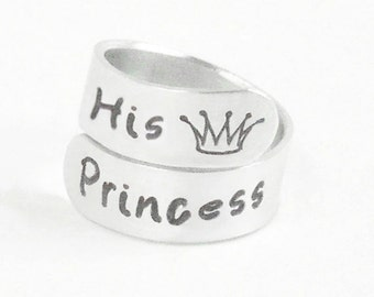 Valentines gift Girlfriend ring - His Princess ring - Gift for wife - Gift for her - Boyfriend gift - Stamped jewelry - Crown ring