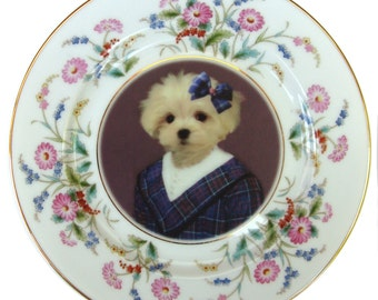 Maggie Maltese, School Portrait Plate - Altered Vintage Plate 6.5""