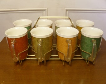ON SALE  Vintage 1960's  Raffia Mugs w/Carrier  Set Of 8