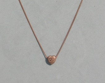 Copper Heart Bead Necklace