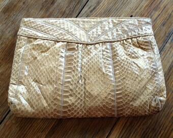 Vintage Palizzio Snakeskin Purse, Tan Snake Skin Clutch