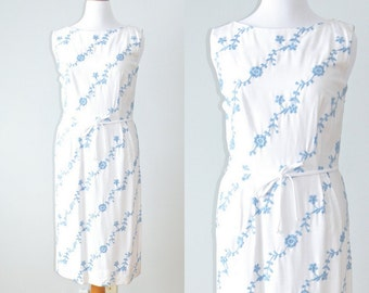 50s Dress, 1950s Plus Size Dress, White and Blue Floral Embroidered Sheath Dress, Henry Rosenfeld