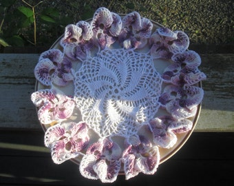 "11"" Purple and White Doily, Handmade Crocheted Doily, Purple Doily, Doyly, Doilie, Doiley, Ornamental Mat, Curface Protector, White Doily"
