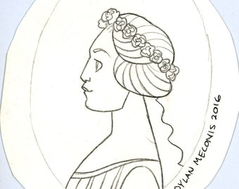 sketch of a Greek woman by Dylan Meconis