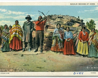 Navajo Indians At Home Native American linen postcard